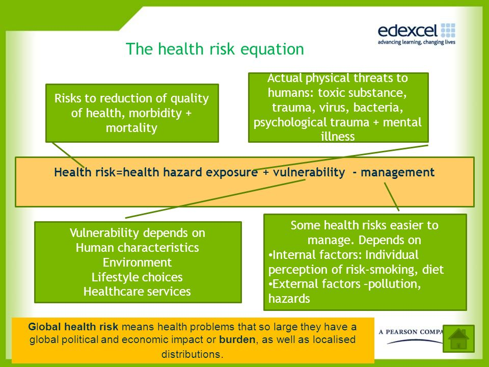 The health risk equation Health risk=health hazard exposure + vulnerability - management Risks to reduction of quality of health, morbidity + mortalit