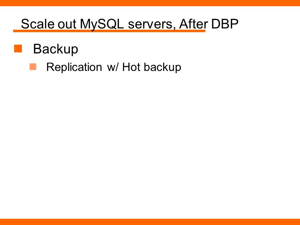 Scale out MySQL servers, After DBP Backup Replication w/ Hot backup