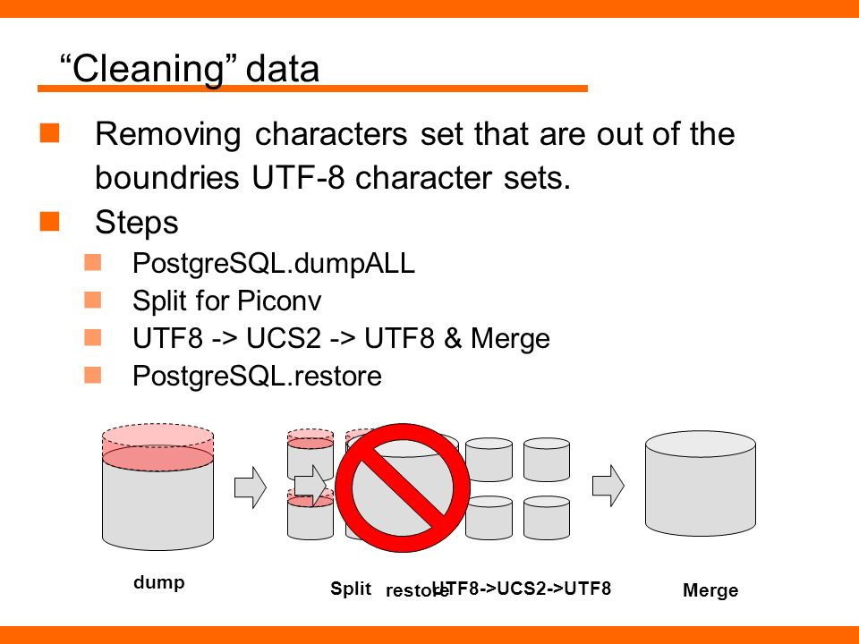 Cleaning data Removing characters set that are out of the boundries UTF-8 character sets. Steps PostgreSQL.dumpALL Split for Piconv UTF8 -> UCS2 -> UT