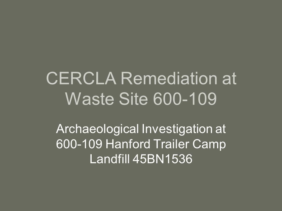 CERCLA Remediation at Waste Site 600-109 Archaeological Investigation at 600-109 Hanford Trailer Camp Landfill 45BN1536