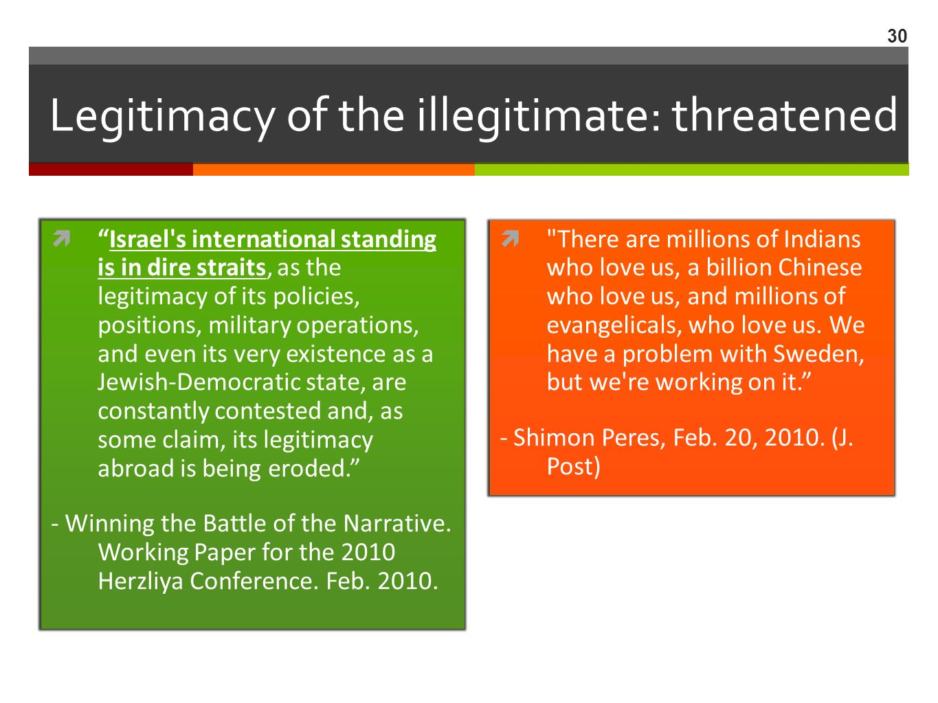 Legitimacy of the illegitimate: threatened Israel s international standing is in dire straits, as the legitimacy of its policies, positions, military operations, and even its very existence as a Jewish-Democratic state, are constantly contested and, as some claim, its legitimacy abroad is being eroded.