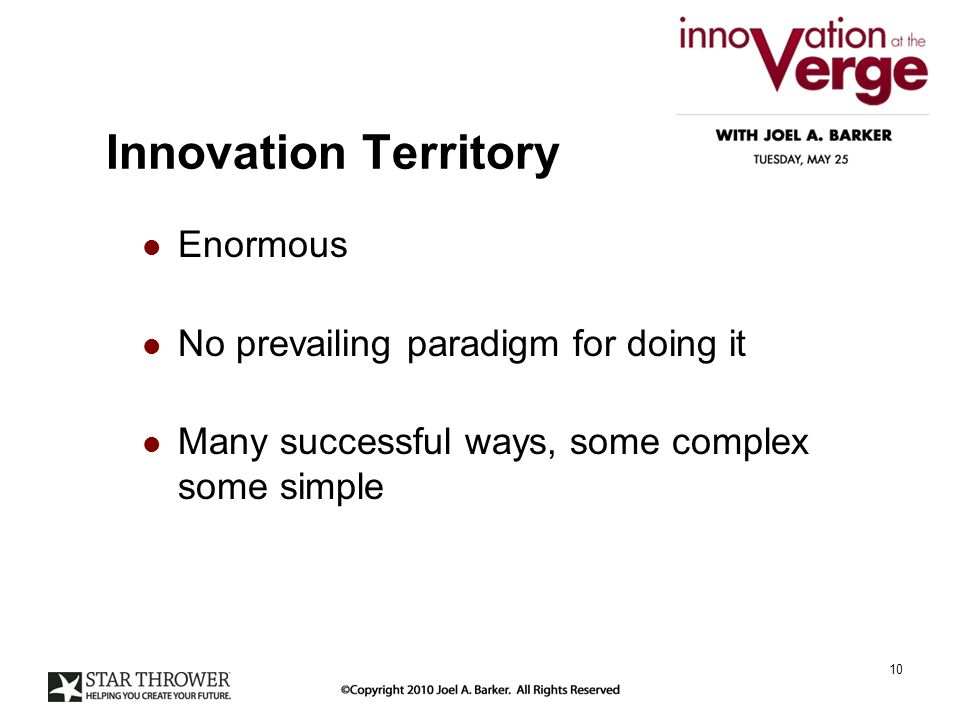 Innovation Territory Enormous No prevailing paradigm for doing it Many successful ways, some complex some simple 10
