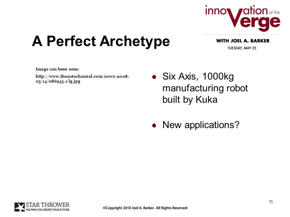 A Perfect Archetype Six Axis, 1000kg manufacturing robot built by Kuka New applications.