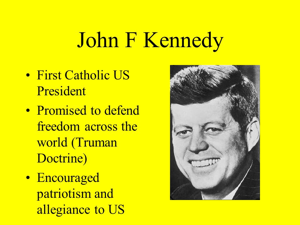 John F Kennedy Failed Bay of Pigs Invasion (1961) Cuban Missile Crisis (1962) –Soviets placed nuclear missiles in Cuba aimed at US –Kennedy threatened massive retaliation is weapons were not moved –Soviets eventually moved weapons but world was on brink of a nuclear war