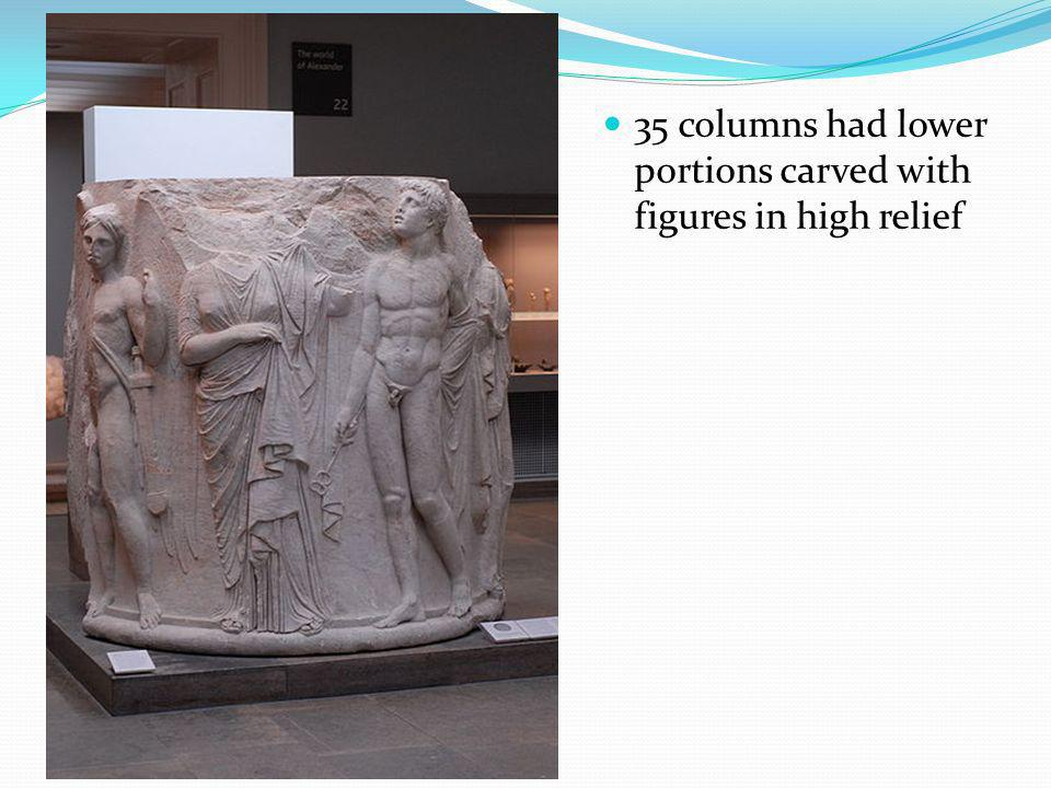35 columns had lower portions carved with figures in high relief