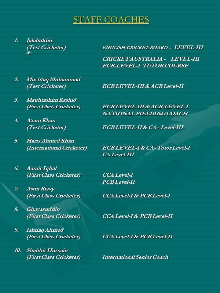 STAFF COACHES 1. Jalaluddin (Test Cricketer) ENGLISH CRICKET BOARD - LEVEL-III & CRICKET AUSTRALIA - LEVEL-III ECB-LEVEL-I TUTOR COURSE 2. Mushtaq Muh