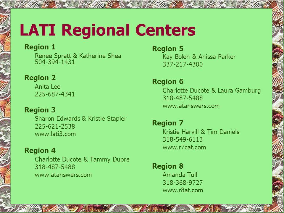 LATI Regional Centers Region 1 Renee Spratt & Katherine Shea 504-394-1431 Region 2 Anita Lee 225-687-4341 Region 3 Sharon Edwards & Kristie Stapler 22