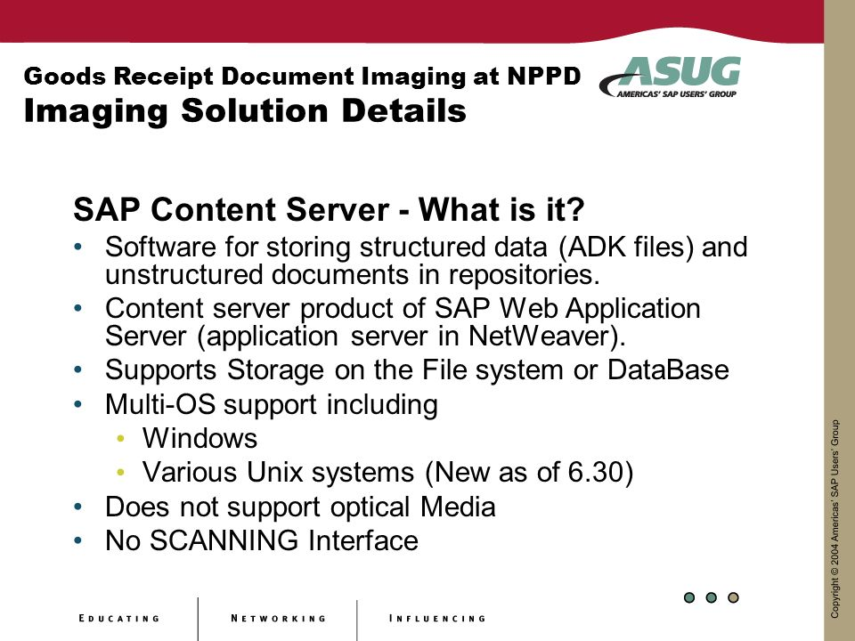SAP Content Server - What is it? Software for storing structured data (ADK files) and unstructured documents in repositories. Content server product o