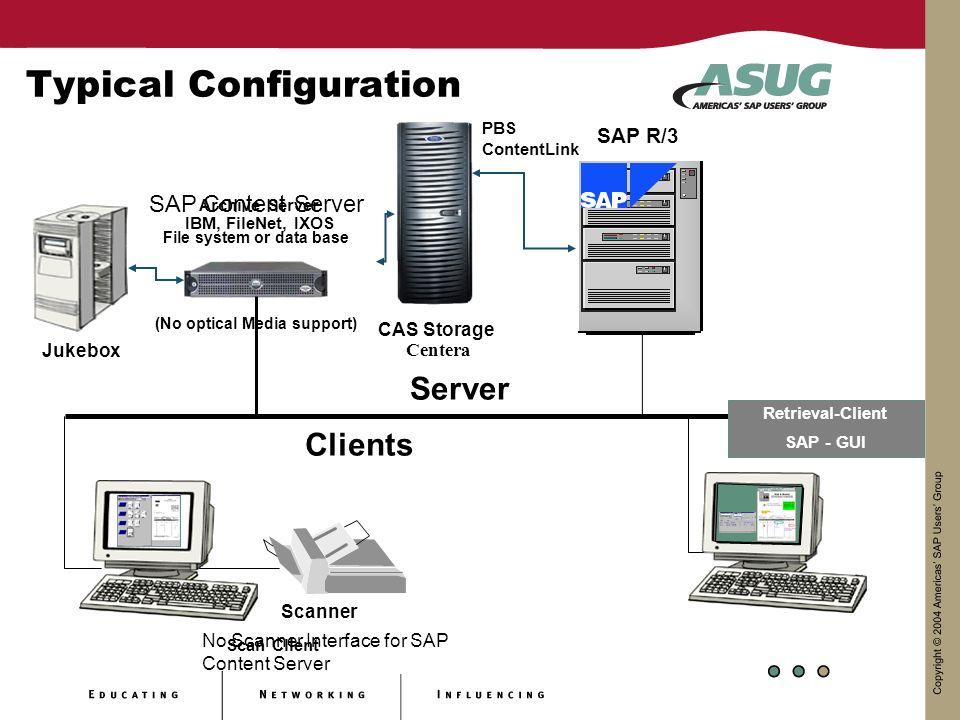 Typical Configuration Server SAP R/3 Archive Server IBM, FileNet, IXOS Retrieval-Client SAP - GUI Clients Scanner Scan Client CAS Storage Centera Jukebox SAP Content Server File system or data base (No optical Media support) PBS ContentLink No Scanner Interface for SAP Content Server