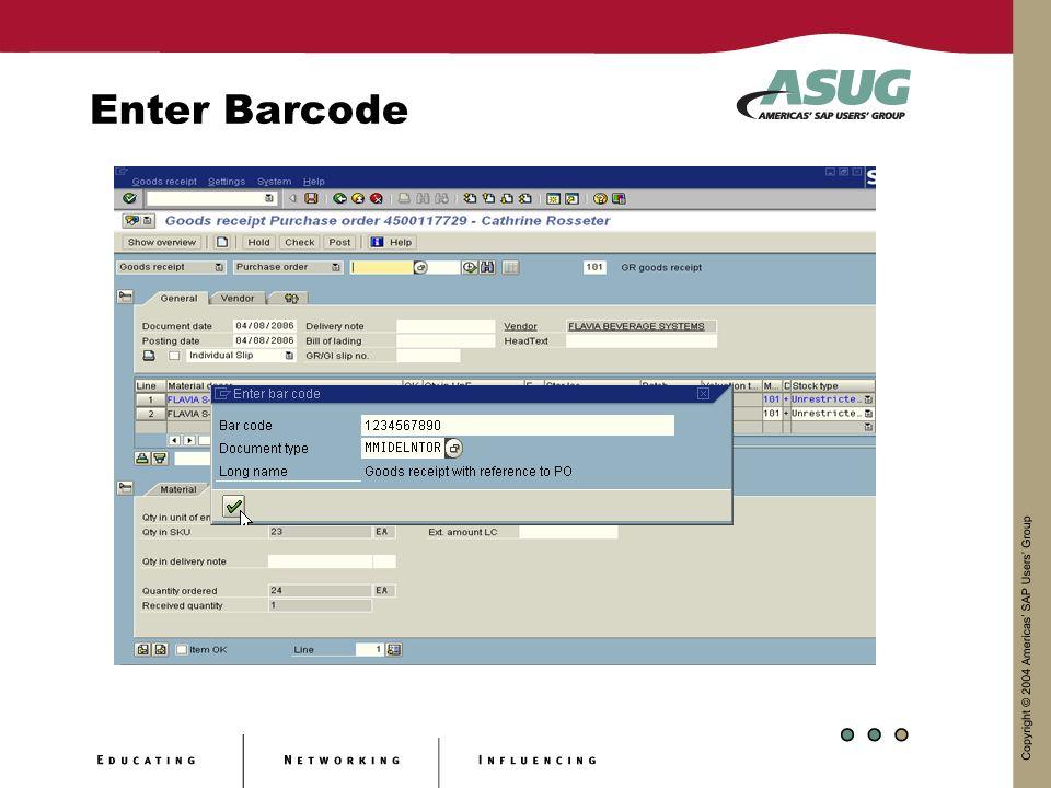 Enter Barcode