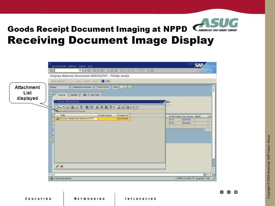 Goods Receipt Document Imaging at NPPD Receiving Document Image Display Attachment List displayed