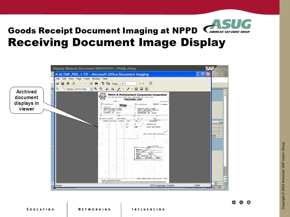 Goods Receipt Document Imaging at NPPD Receiving Document Image Display Archived document displays in viewer