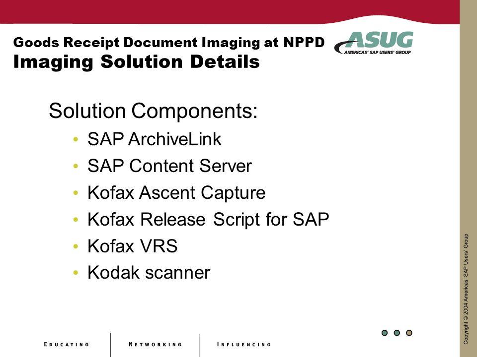 Goods Receipt Document Imaging at NPPD Imaging Solution Details Solution Components: SAP ArchiveLink SAP Content Server Kofax Ascent Capture Kofax Release Script for SAP Kofax VRS Kodak scanner
