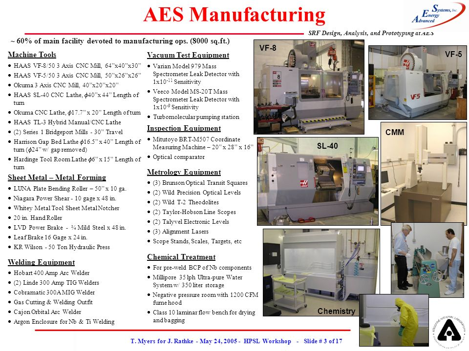 T. Myers for J. Rathke - May 24, 2005 - HPSL Workshop - Slide # 3 of 17 SRF Design, Analysis, and Prototyping at AES AES Manufacturing Machine Tools H