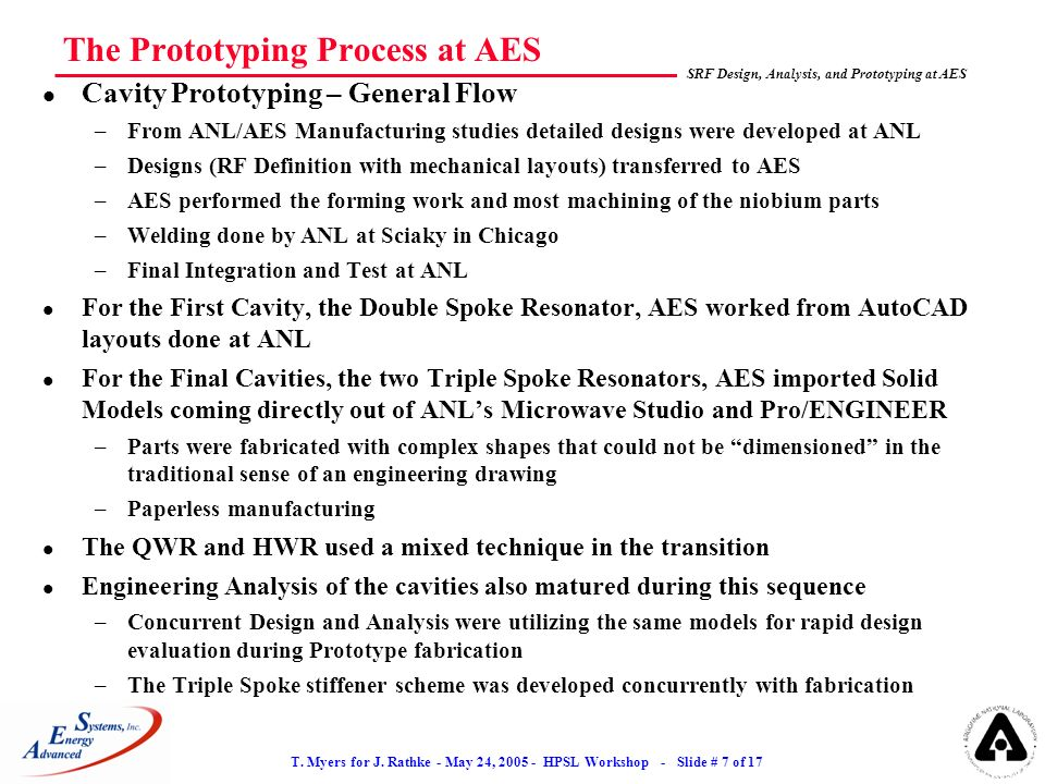 T. Myers for J. Rathke - May 24, 2005 - HPSL Workshop - Slide # 7 of 17 SRF Design, Analysis, and Prototyping at AES The Prototyping Process at AES l