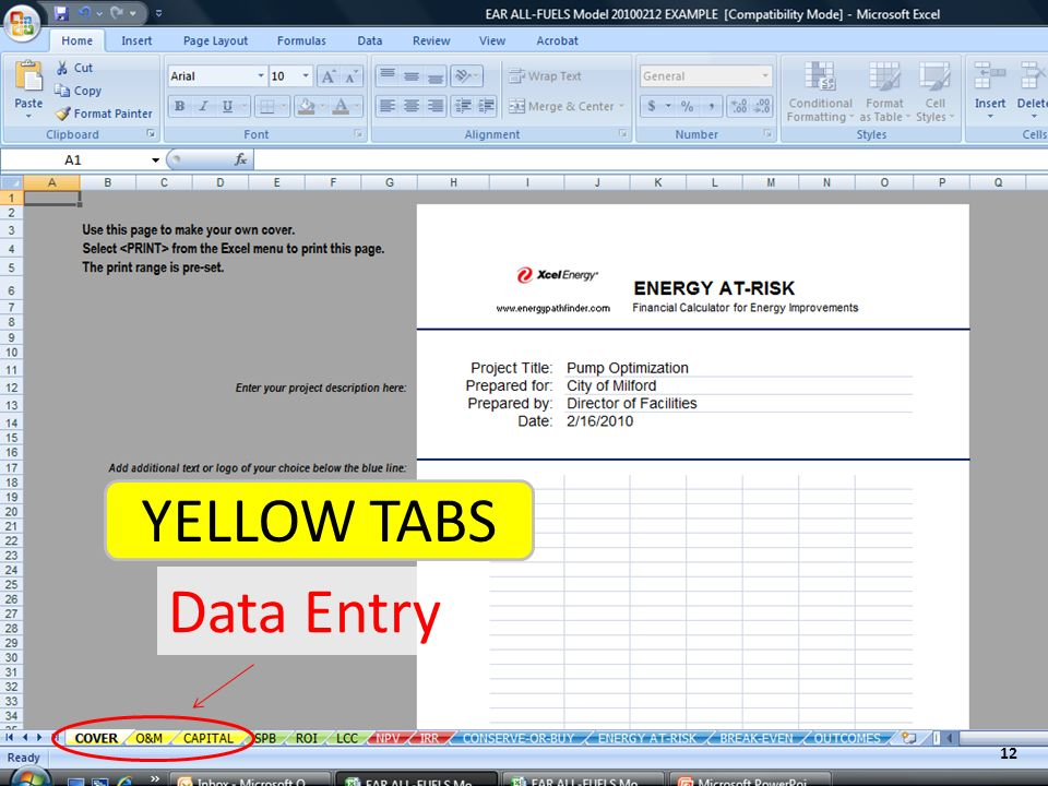 Data Entry YELLOW TABS 12