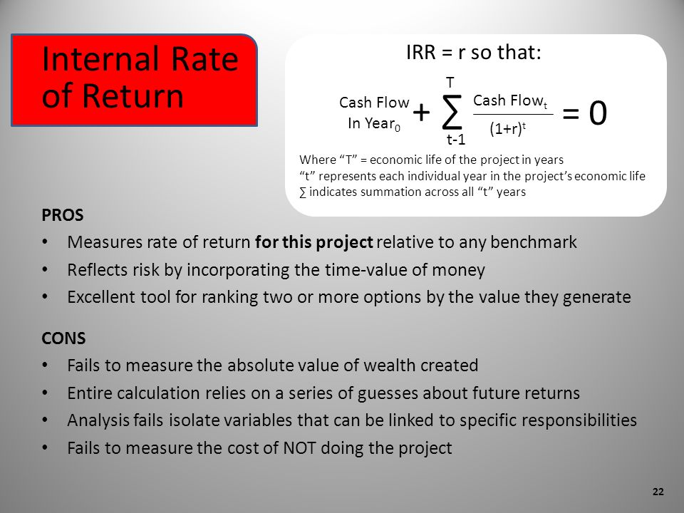 Internal Rate of Return CONS Fails to measure the absolute value of wealth created Entire calculation relies on a series of guesses about future returns Analysis fails isolate variables that can be linked to specific responsibilities Fails to measure the cost of NOT doing the project PROS Measures rate of return for this project relative to any benchmark Reflects risk by incorporating the time-value of money Excellent tool for ranking two or more options by the value they generate Cash Flow t (1+r) t T t-1 + Cash Flow In Year 0 = 0 IRR = r so that: Where T = economic life of the project in years t represents each individual year in the projects economic life indicates summation across all t years 22