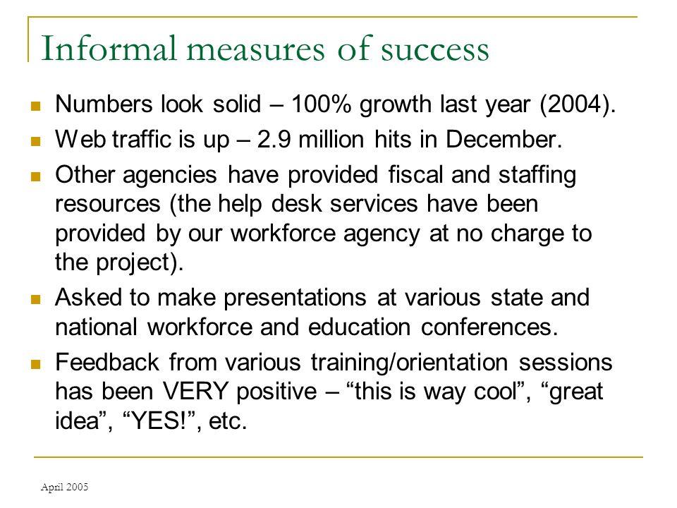 April 2005 Informal measures of success Numbers look solid – 100% growth last year (2004).