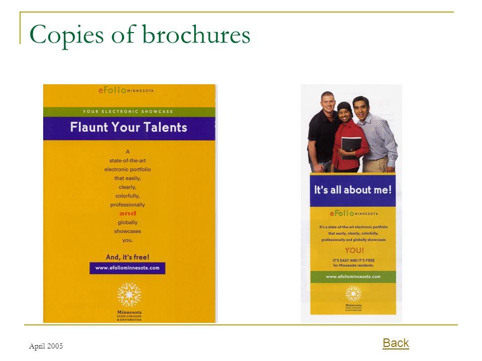 Copies of brochures Back