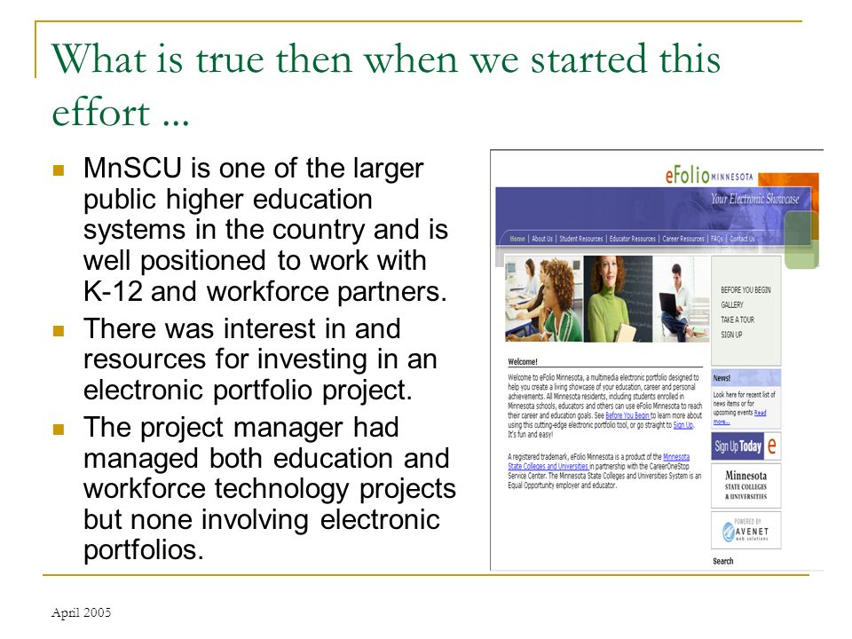 April 2005 Seeing is believing Sample sites Student Worker Educator Educator resources Portal