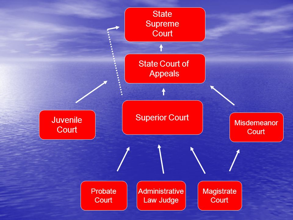 State Court of Appeals Juvenile Court Superior Court Probate Court Misdemeanor Court Administrative Law Judge Magistrate Court State Supreme Court