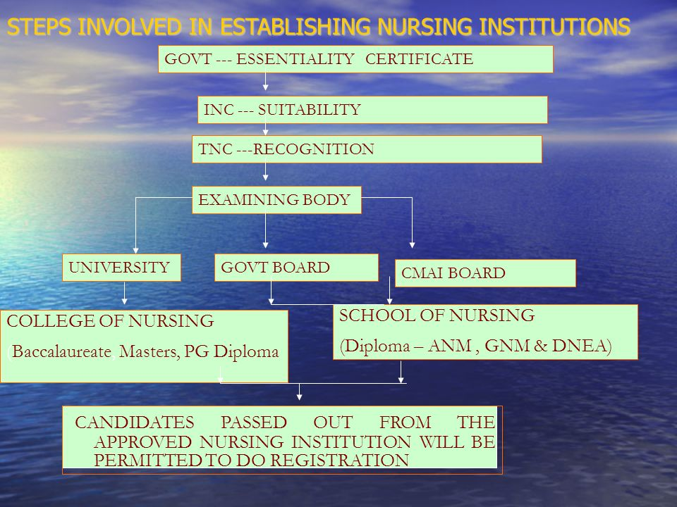 STEPS INVOLVED IN ESTABLISHING NURSING INSTITUTIONS GOVT --- ESSENTIALITY CERTIFICATE INC --- SUITABILITY TNC ---RECOGNITION EXAMINING BODY UNIVERSITYGOVT BOARD CMAI BOARD SCHOOL OF NURSING (Diploma – ANM, GNM & DNEA) COLLEGE OF NURSING (Baccalaureate, Masters, PG Diploma CANDIDATES PASSED OUT FROM THE APPROVED NURSING INSTITUTION WILL BE PERMITTED TO DO REGISTRATION