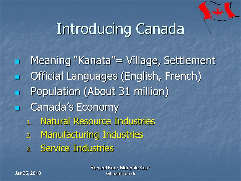 Introducing Canada Meaning Kanata= Village, Settlement Meaning Kanata= Village, Settlement Official Languages (English, French) Official Languages (En