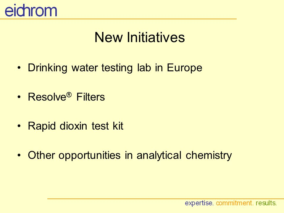 New Initiatives Drinking water testing lab in Europe Resolve ® Filters Rapid dioxin test kit Other opportunities in analytical chemistry
