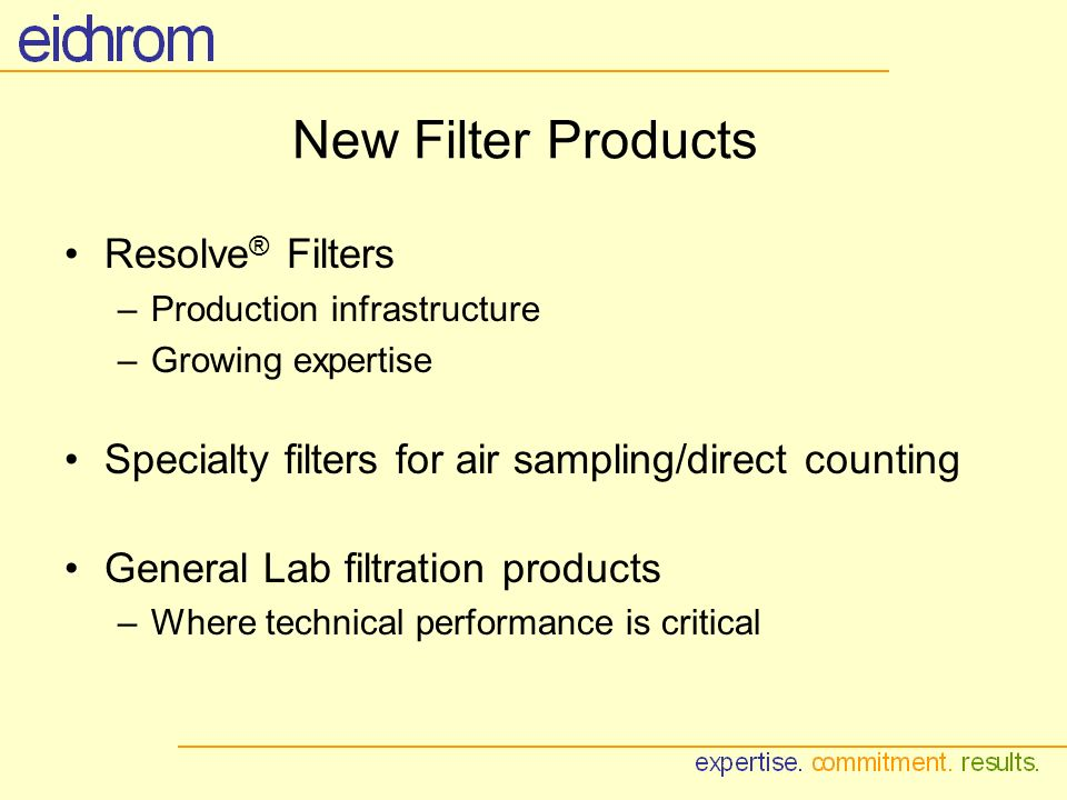New Filter Products Resolve ® Filters –Production infrastructure –Growing expertise Specialty filters for air sampling/direct counting General Lab filtration products –Where technical performance is critical