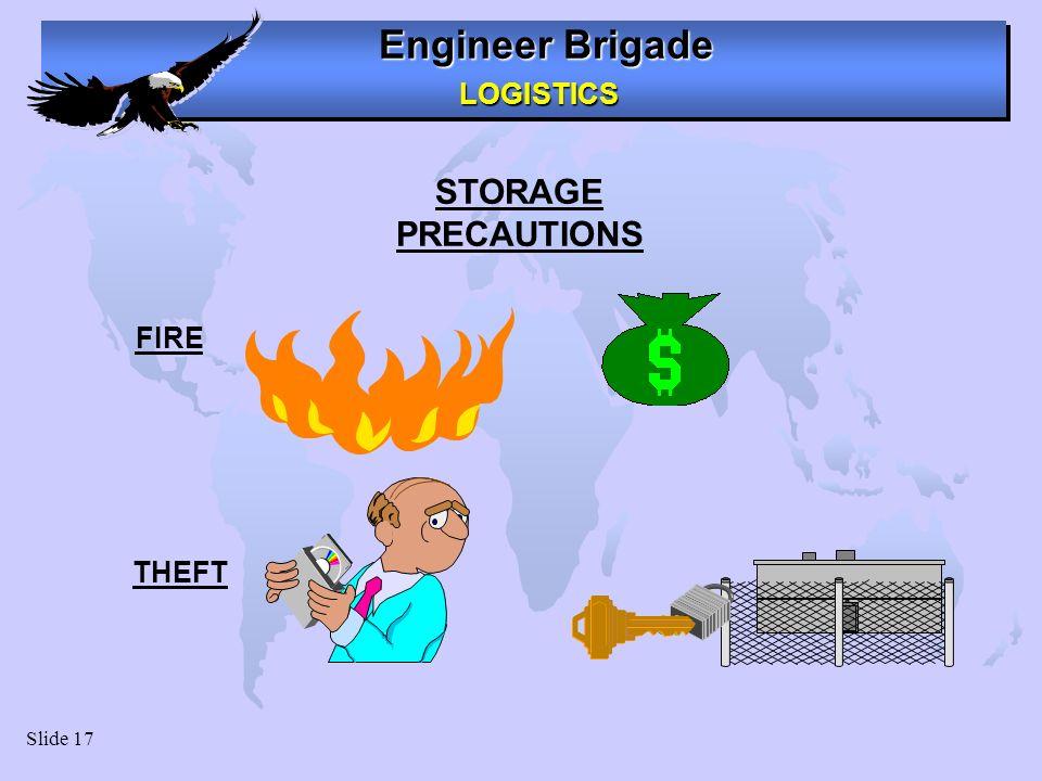Engineer Brigade LOGISTICS LOGISTICS Slide 17 STORAGE PRECAUTIONS FIRE THEFT