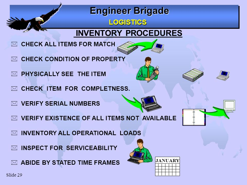 Engineer Brigade LOGISTICS LOGISTICS Slide 29 INVENTORY PROCEDURES * CHECK ALL ITEMS FOR MATCH * CHECK CONDITION OF PROPERTY * PHYSICALLY SEE THE ITEM * CHECK ITEM FOR COMPLETNESS.