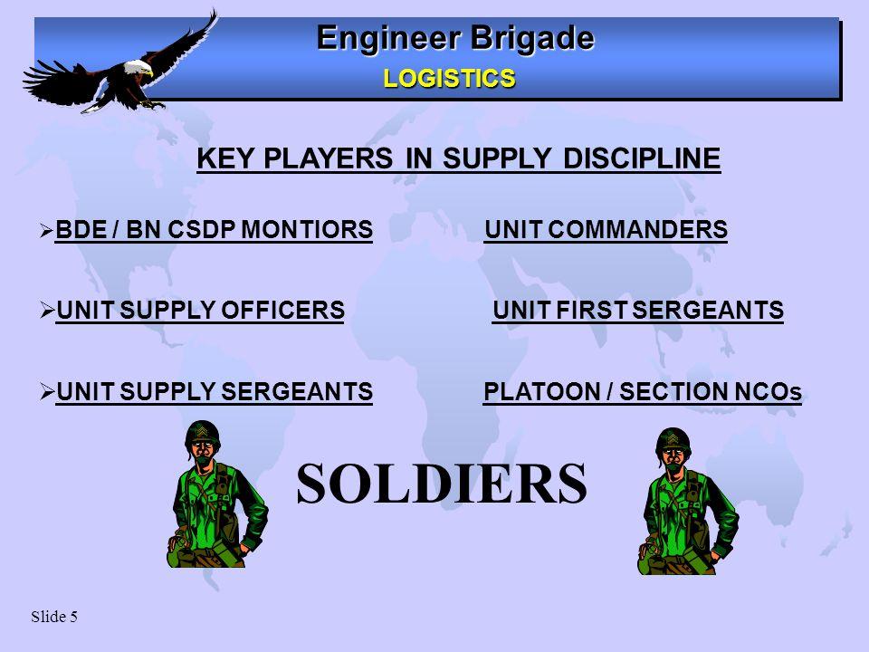 Engineer Brigade LOGISTICS LOGISTICS Slide 5 BDE / BN CSDP MONTIORS UNIT COMMANDERS UNIT SUPPLY OFFICERS UNIT FIRST SERGEANTS UNIT SUPPLY SERGEANTS PL