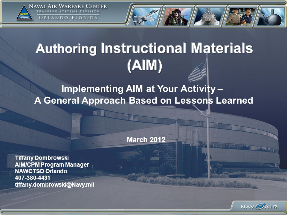 Objective of Presentation To begin to answer some questions you may have regarding AIM implementation at your activity including: –What is AIM.