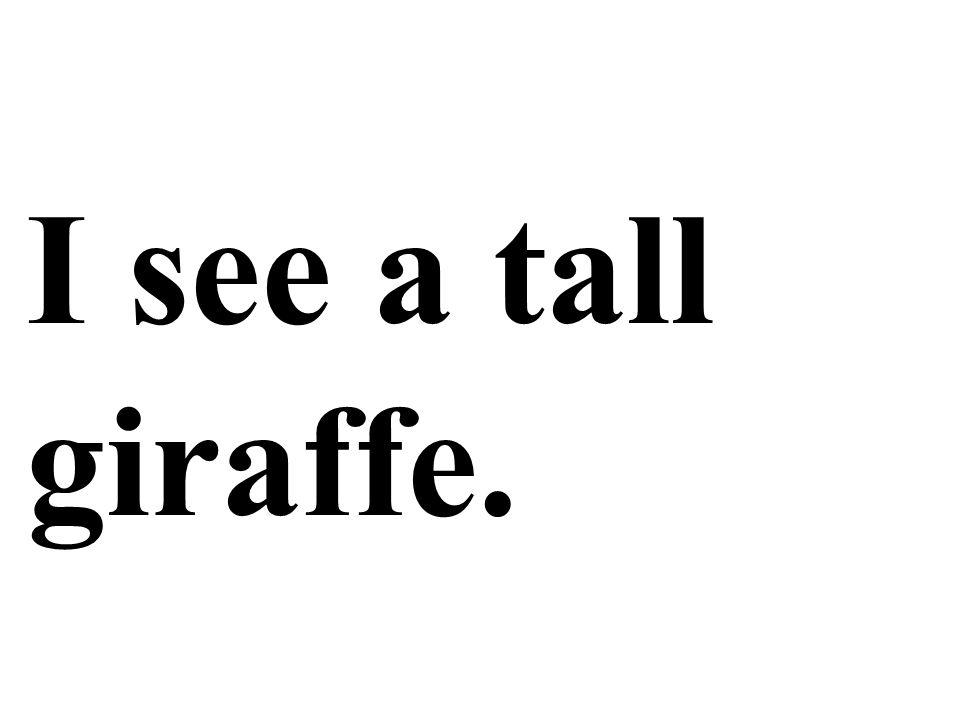 I see a tall giraffe.
