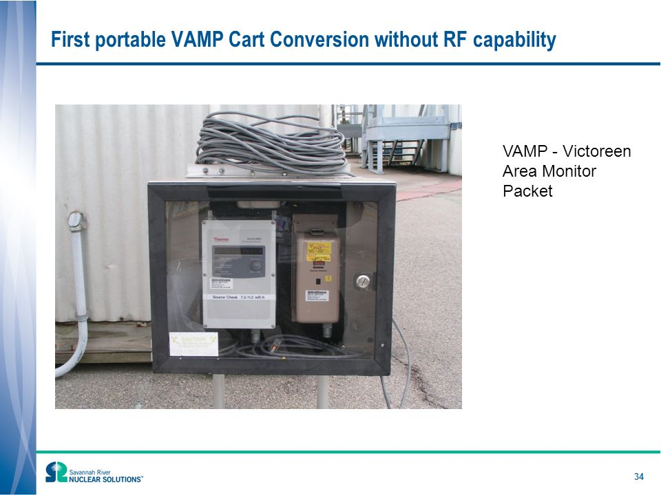 34 First portable VAMP Cart Conversion without RF capability VAMP - Victoreen Area Monitor Packet