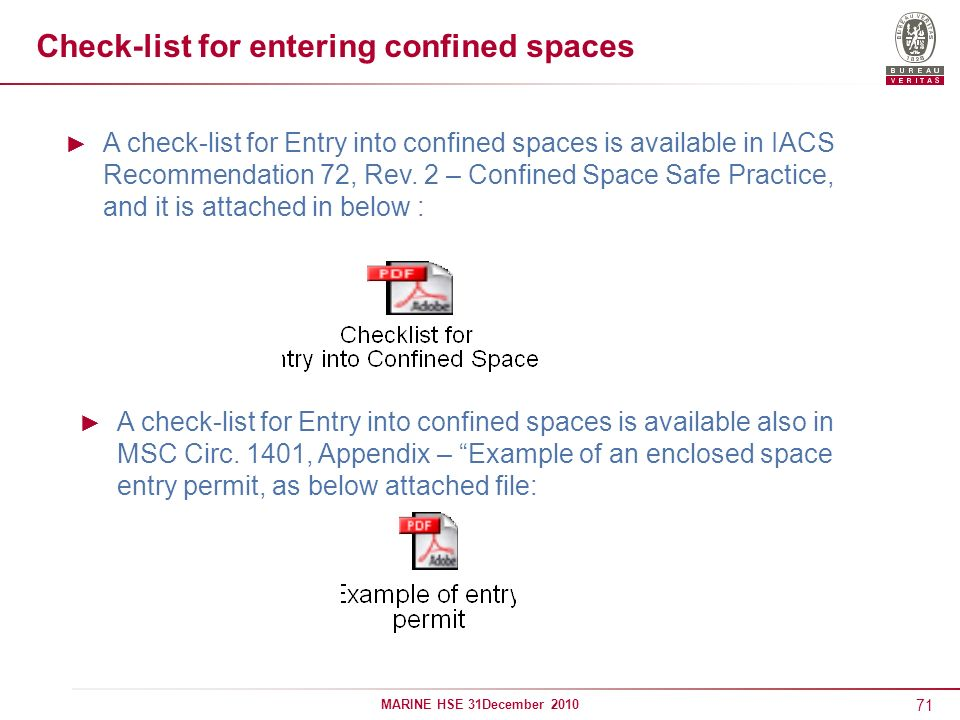 71 MARINE HSE 31December 2010 Check-list for entering confined spaces A check-list for Entry into confined spaces is available in IACS Recommendation