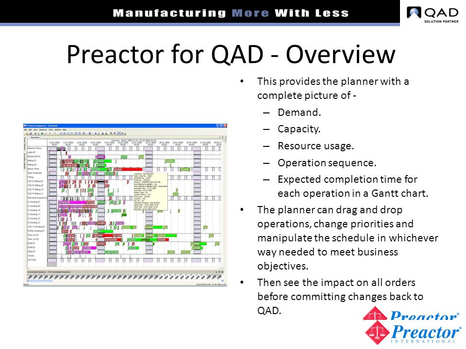 Preactor for QAD - Overview This provides the planner with a complete picture of - – Demand. – Capacity. – Resource usage. – Operation sequence. – Exp