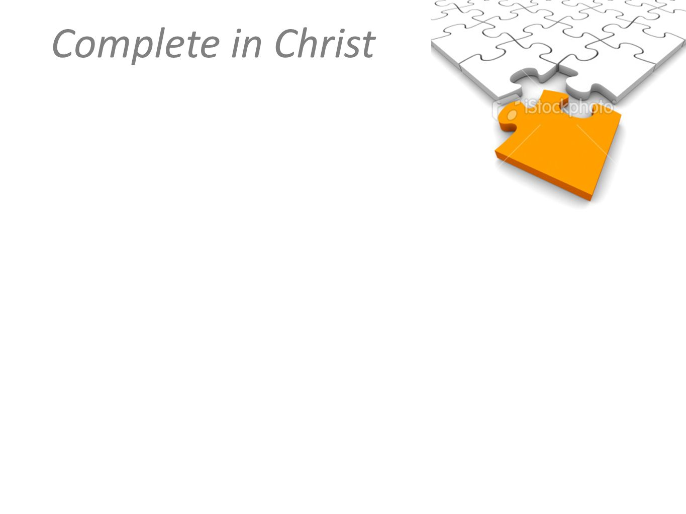 Complete in Christ