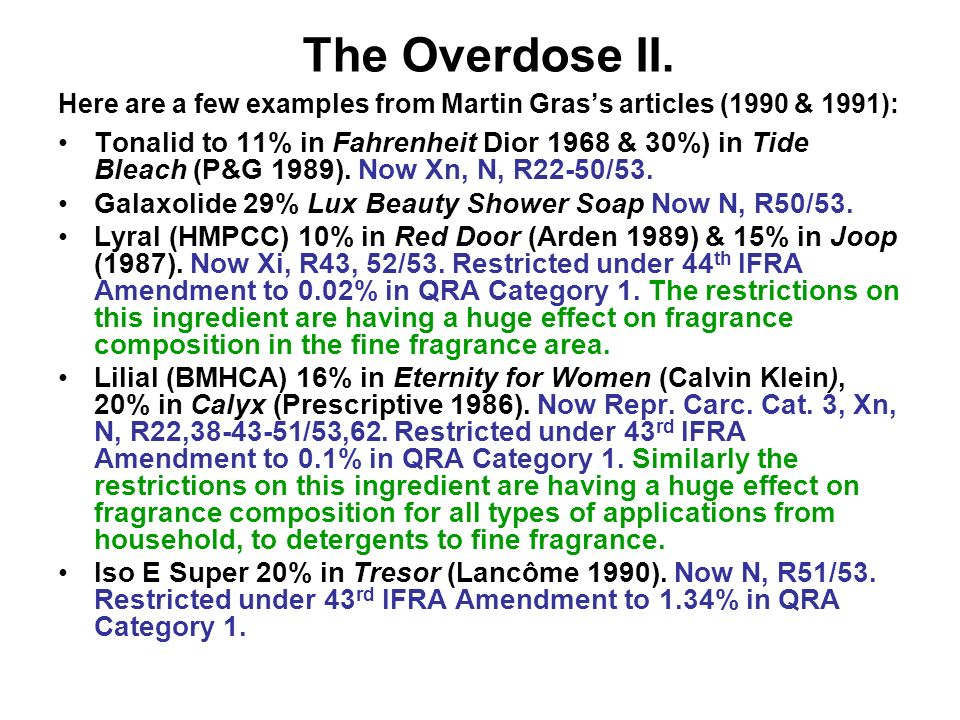 The Overdose II. Here are a few examples from Martin Grass articles (1990 & 1991): Tonalid to 11% in Fahrenheit Dior 1968 & 30%) in Tide Bleach (P&G 1