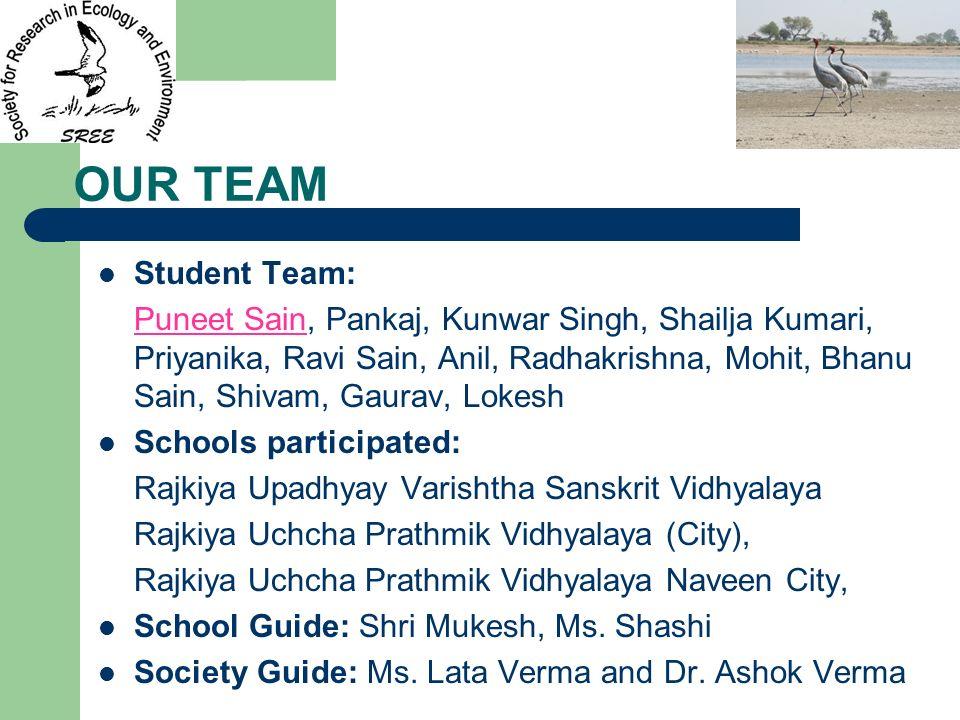OUR TEAM Student Team: Puneet Sain, Pankaj, Kunwar Singh, Shailja Kumari, Priyanika, Ravi Sain, Anil, Radhakrishna, Mohit, Bhanu Sain, Shivam, Gaurav,