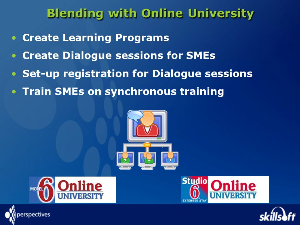 Blending with Online University Create Learning Programs Create Dialogue sessions for SMEs Set-up registration for Dialogue sessions Train SMEs on syn