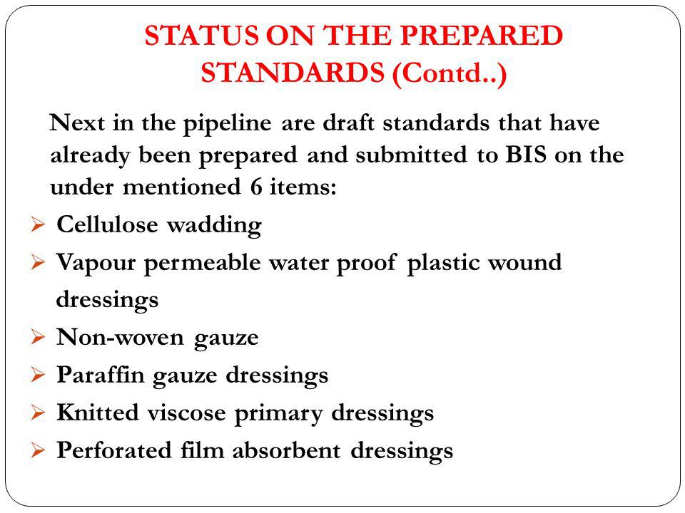 STATUS ON THE PREPARED STANDARDS (Contd..) Next in the pipeline are draft standards that have already been prepared and submitted to BIS on the under