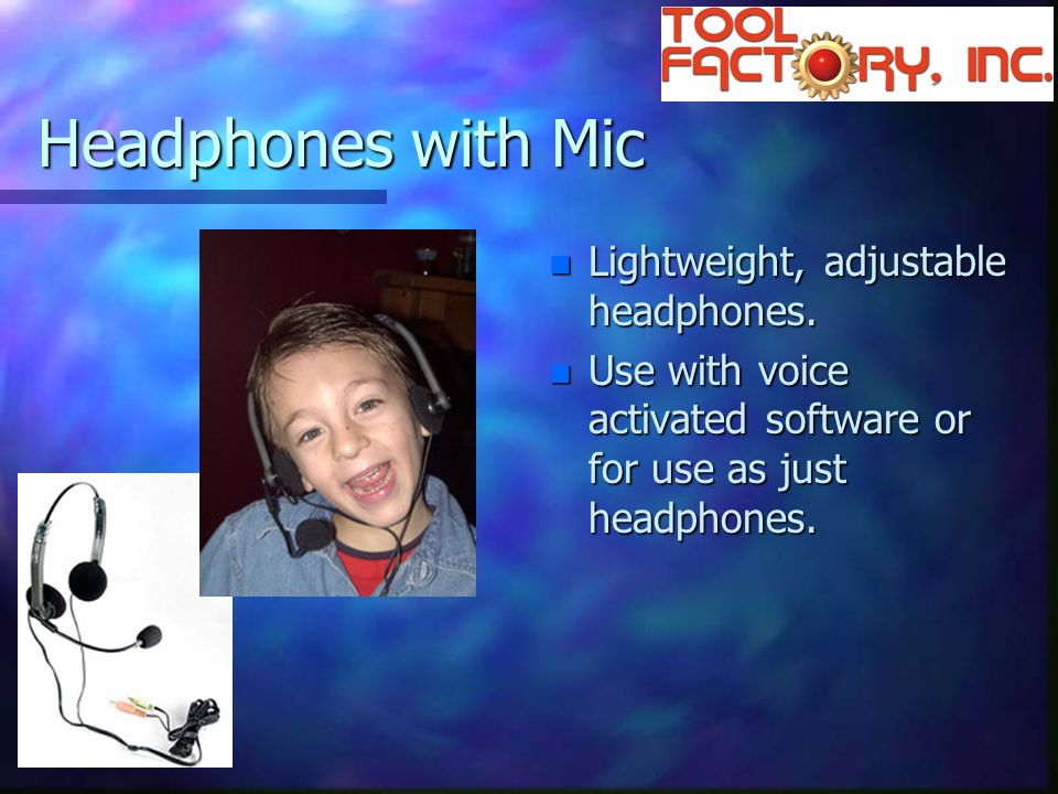 Headphones with Mic n Lightweight, adjustable headphones.