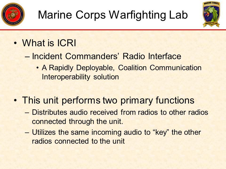 ICRI ICRI provides a rugged, highly portable, radio cross-band (e.g.