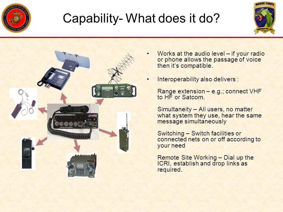 Capability- What does it do? Works at the audio level – if your radio or phone allows the passage of voice then its compatible. Interoperability also