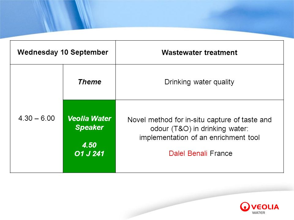 Wednesday 10 September Wastewater treatment 4.30 – 6.00 ThemeDrinking water quality Veolia Water Speaker 4.50 O1 J 241 Novel method for in-situ captur