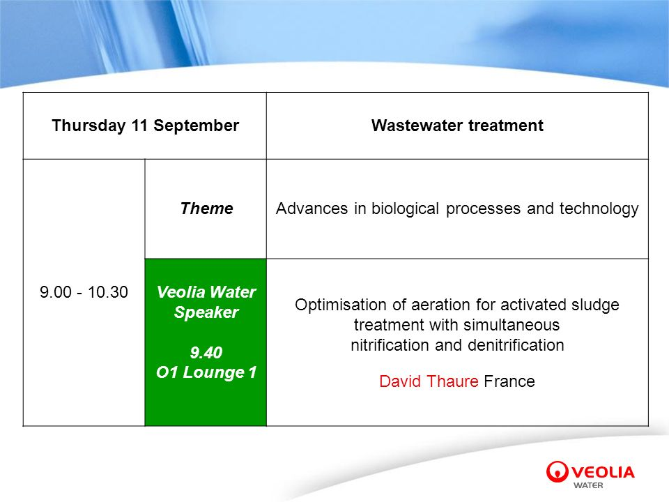 Thursday 11 SeptemberWastewater treatment 9.00 - 10.30 ThemeAdvances in biological processes and technology Veolia Water Speaker 9.40 O1 Lounge 1 Opti