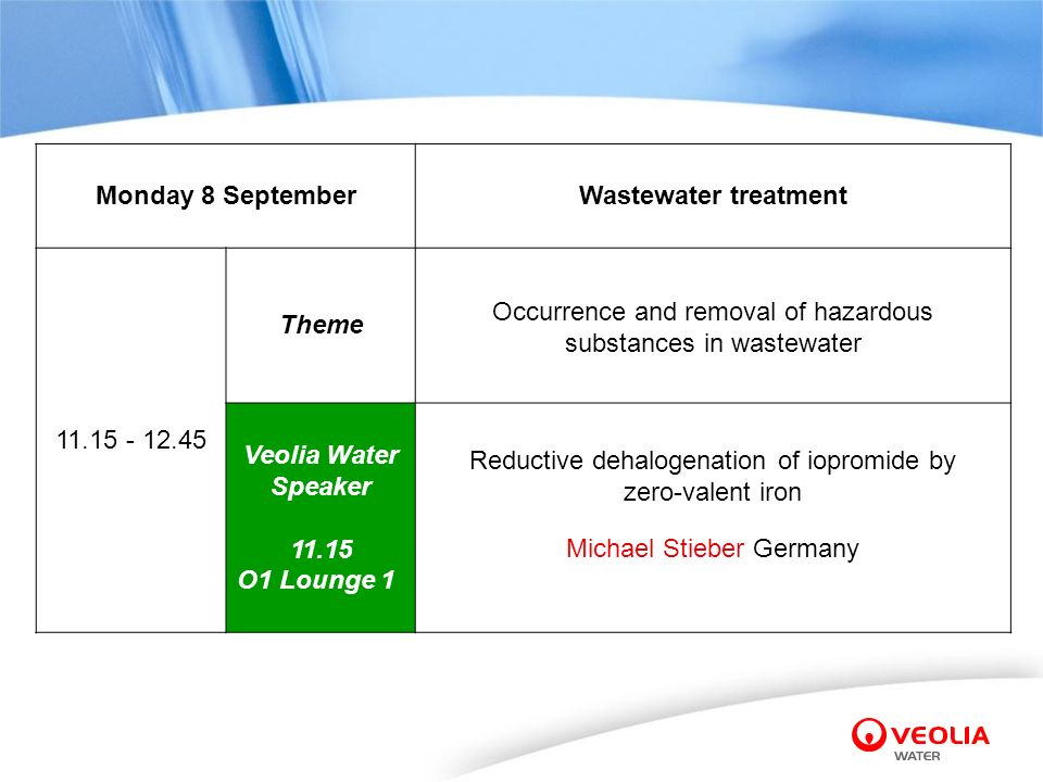 Monday 8 September Wastewater treatment 11.15 - 12.45 Theme Occurrence and removal of hazardous substances in wastewater Veolia Water Speaker 11.15 O1