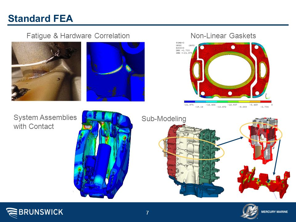 7 Standard FEA Fatigue & Hardware CorrelationNon-Linear Gaskets Sub-Modeling System Assemblies with Contact