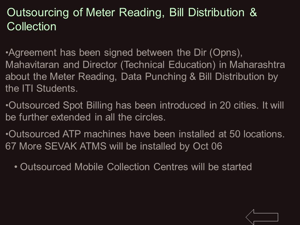 Outsourcing of Meter Reading, Bill Distribution & Collection Agreement has been signed between the Dir (Opns), Mahavitaran and Director (Technical Education) in Maharashtra about the Meter Reading, Data Punching & Bill Distribution by the ITI Students.